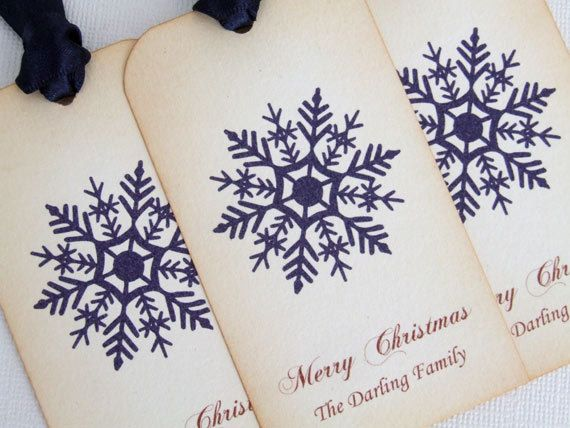 Personalized Christmas Gift Tags. Set of 6. Featuring a pretty snowflake and a personal message from you. These are great way to finish off your special gifts. By simplyprettypieces, $7.50