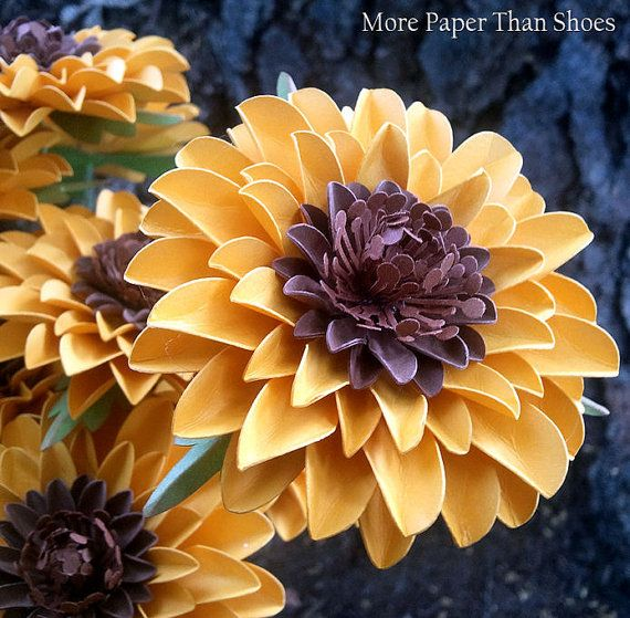 Handmade Paper Flowers - Stemmed Sunflowers  - Weddings - Birthdays - Special Events - Set of 12 - Made To Order
