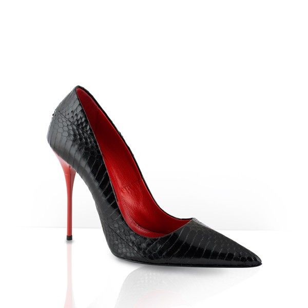 Decolleté elegante da sera elaphe nero - Mandoch - Decolletè da donna elegante in elaphe nero con tacco laccato rosso