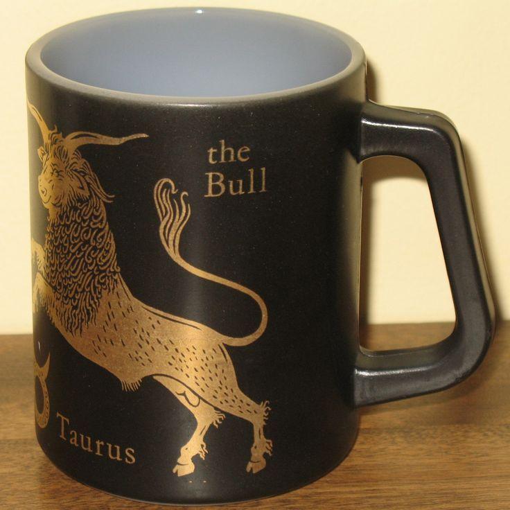 Vintage Black & Gold Taurus Coffee Mug Bull Zodiac Astrology Federal Glass Company. #zodiac