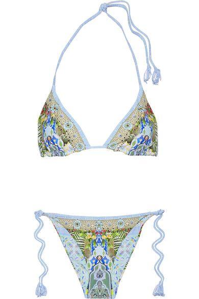 Camilla - My Marjorelle Reversible Embellished Triangle Bikini - Blue - UK12