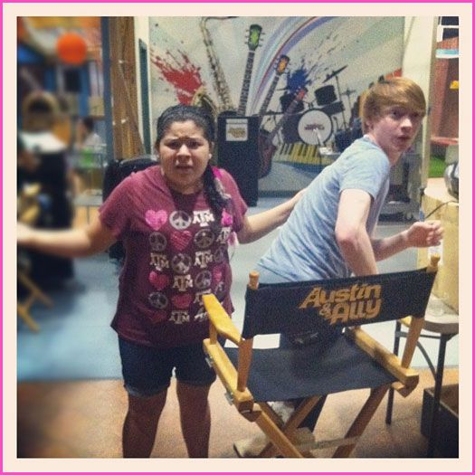 "Raini Rodriguez And Calum Worthy On The Set Of Disney Channel's ""Austin & Ally"" On June 12, 2012"
