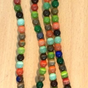 Mixed Colour Cat's Eye - 8mm, 1 strand,