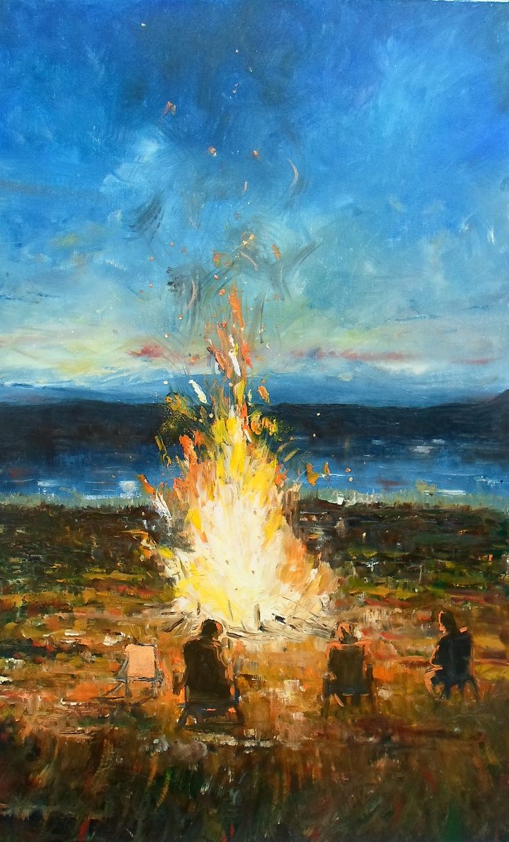 Fire night* oil on canvas 37x67 cm by me