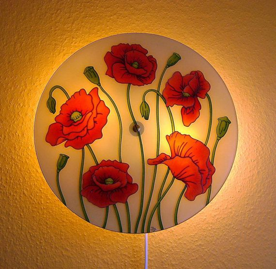 Poppy Wall Lamp Large wall lamp Red wall decor Hand Painted