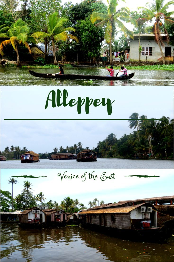 House boat drifting past palm-fringed canals, traditional villages, paddy fields lined with coconut trees - A day sailing on Vembanad Lake in Alleppey.