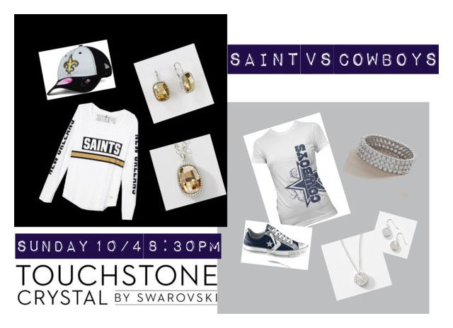 """Saints vs Cowboys"" by michelle-mccue-clyde on Polyvore featuring Converse, Touchstone Crystal and New Era"