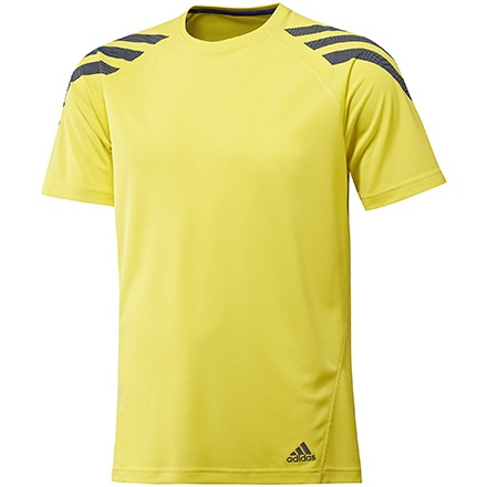 Iconic Stripe Short Sleeve Tee Hombre, Prime Yellow / Prime Ink Blue by adidas