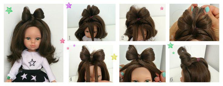 Bow hairstyle for La Lalla doll. Tutorial. Fryzura krok po kroku - kokardka.
