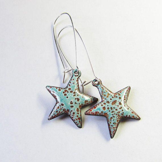 Aqua Star Earrings, Enamel Jewelry, Small Long Dangle Earrings Bohemian Jewelry on Etsy, $35.00