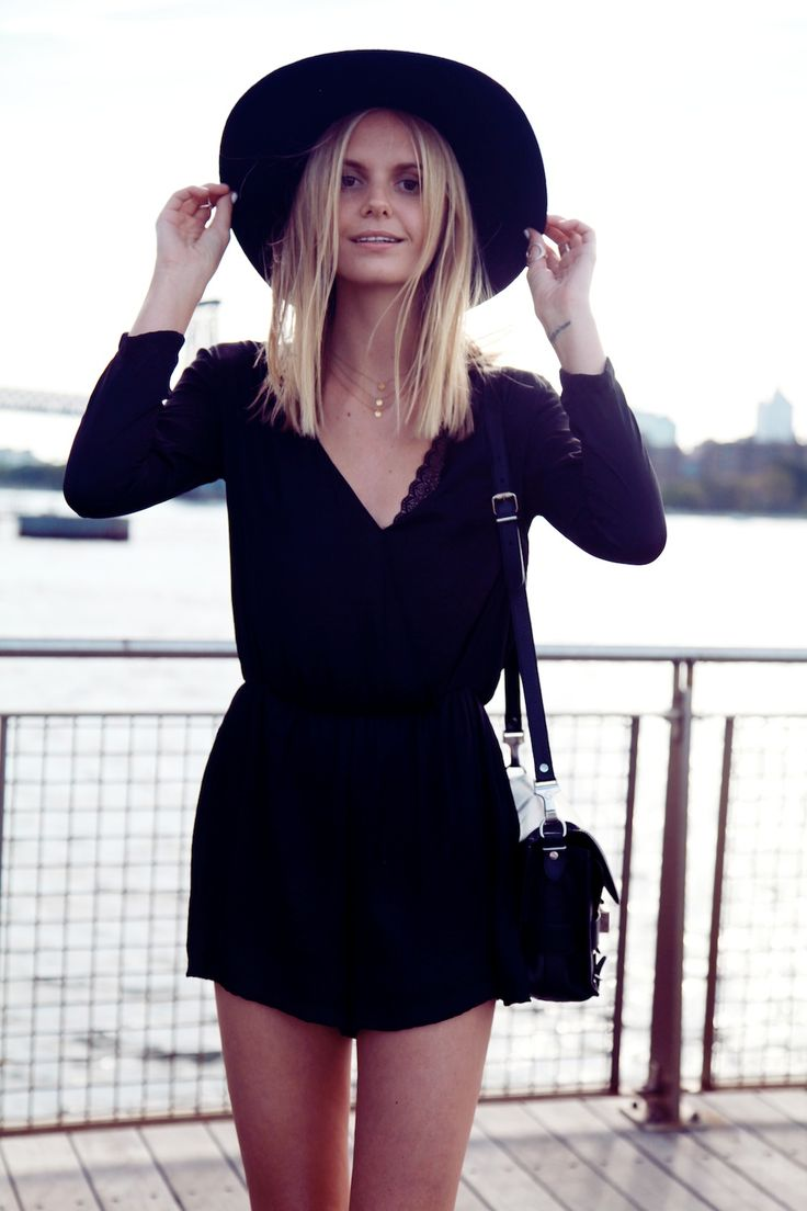 Black romper + black hat.