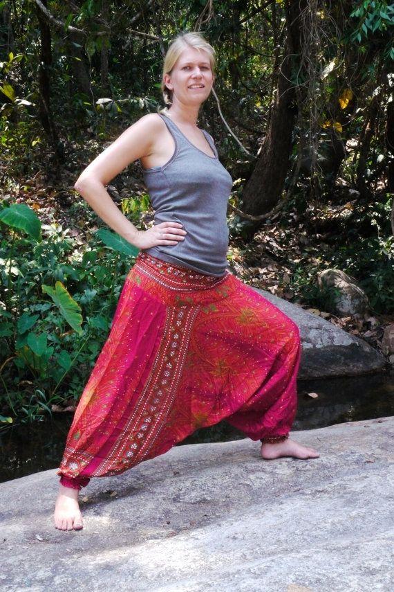 Gold Pants Thai Harem Pants in Cotton, Pink and gold Peacock Pattern -- Aladdin Pants -- Women's Harem Pants -- Drop Crotch Style