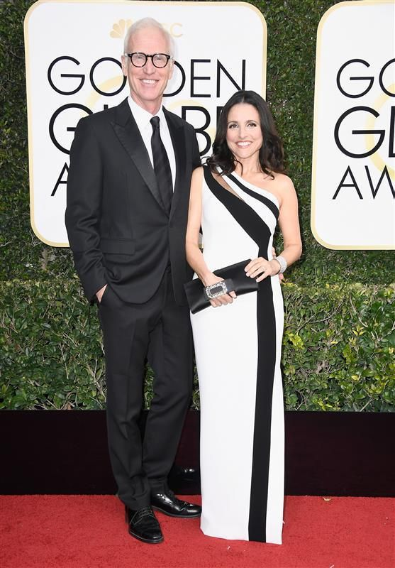 Julia Louis-Dreyfus and husband Brad Hall coordinated in black and white.