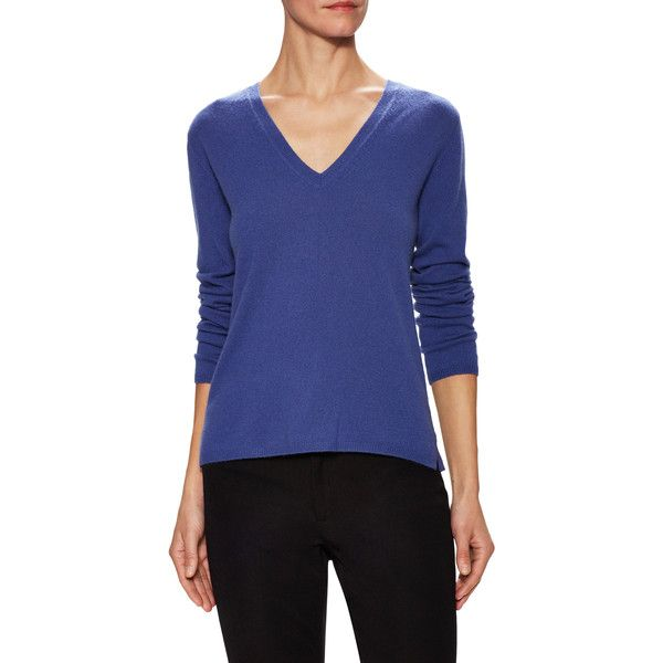 Max Mara Women's Cashmere V-Neck Sweater - Blue, Size L ($249) ❤ liked on Polyvore featuring tops, sweaters, blue, holiday sweaters, evening sweaters, maxmara, holiday tops and v-neck sweater