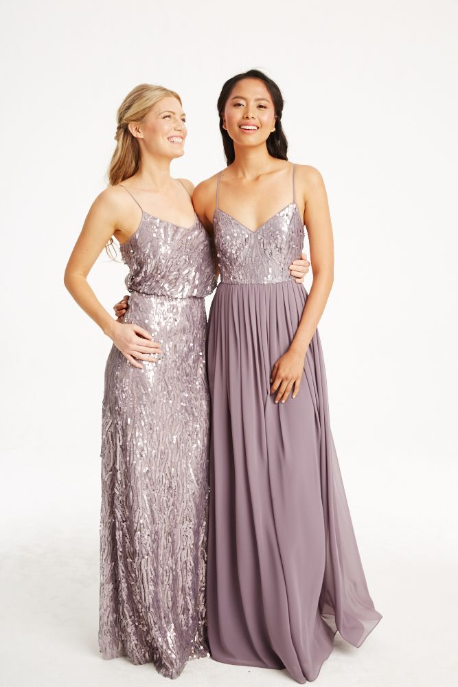 Donna Morgan Collection sequin gowns // Mix and match bridesmaids dresses // Lavender bridesmaids dresses // Courtney & Coco in Grey Ridge