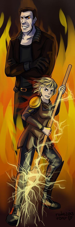 Ares en Clarisse. Clarisse is de dochter van Ares. Ares is de god van de oorlog. Clarisse is samen met Percy op kamp Halfbloed.<<<No shit