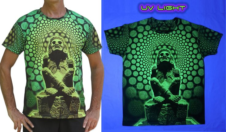 "UV Sublime S/S T : Lime Xochipilli Fully printed short sleeve T shirt. This shirt is an ""All Over"" printed T shirt that will really grab people's attention. Sublimation printing on a high quality UV Yellow polyester / Dri-Fit blended shirt. This allows for extremely vibrant colors that will never fade away no matter how many times it gets washed, & results in an extremely soft ""feel"" to the shirt for ultimate comfort. UV active - Glows under black light ! Artwork by Space Tribe"