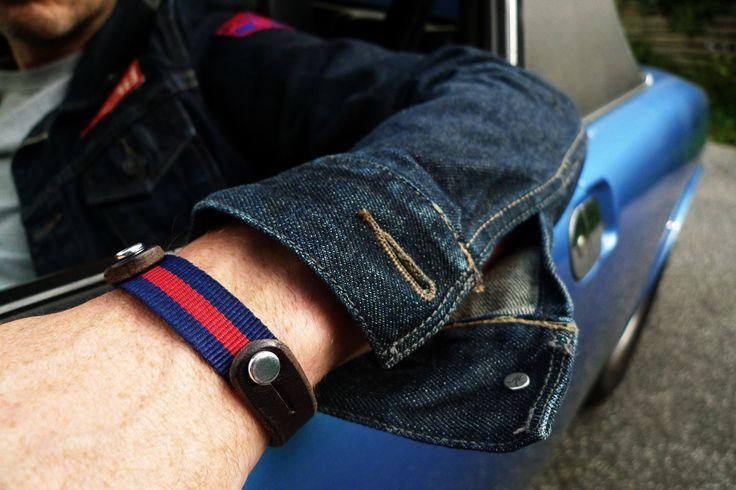 www.877workshop.com — Men's bracelet brown leather Nato blue red
