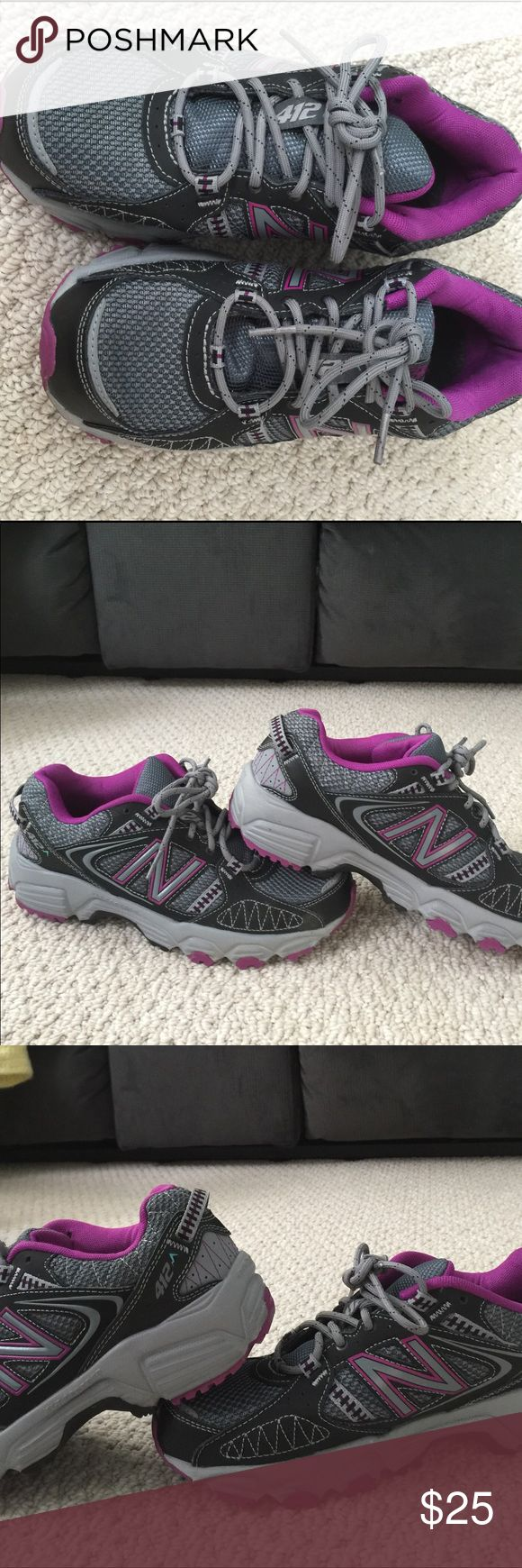 Women's New Balance athletic shoes size 7 wide New Balance 412 Wide Trail Running Shoes - Women Size: 7 WIDE Color: Charcoal Purple New Balance Shoes Sneakers