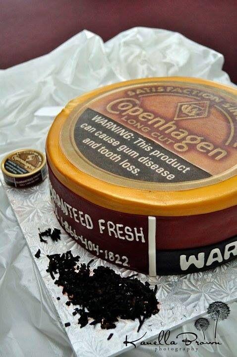 Can of Copenhagen snuff chew cake