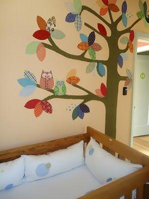 quarto de bebe com colagem em tecido #nursery #owl #babydecor #baby #kids