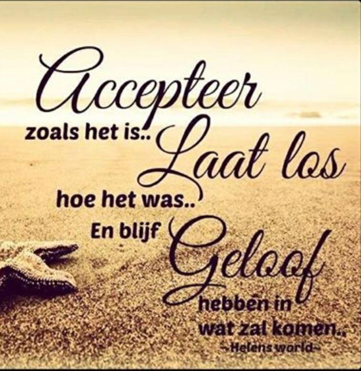 Accepteer zoals het is, laat los Hoe het was en blijf geloof hebben in wat zal komen.