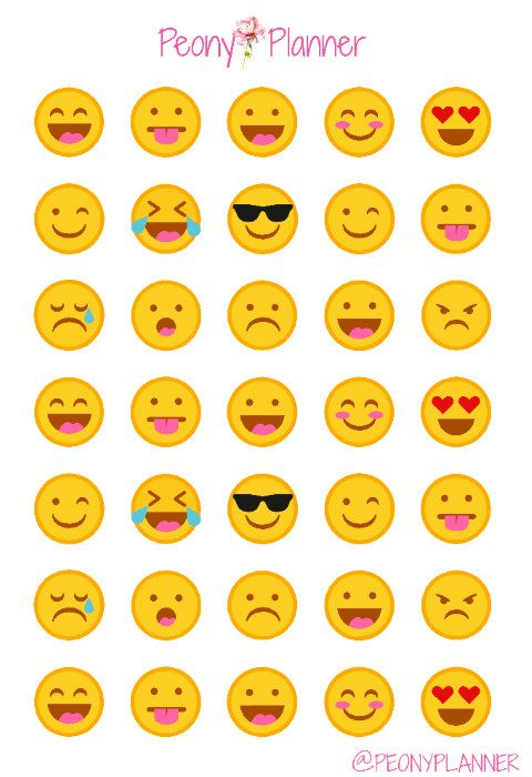Emoticonos Emoji planificador pegatinas | Erin Condren, Kikki K, A5, Personal