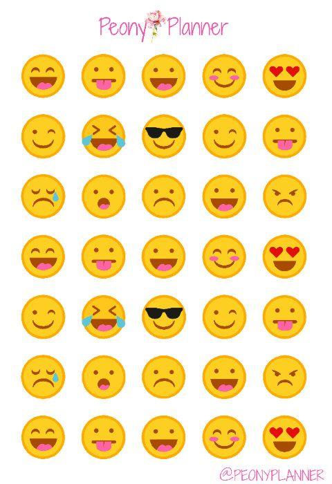 Emoticonos Emoji planificador pegatinas | Erin Condren, Kikki K, A5, Personal                                                                                                                                                                                 Más
