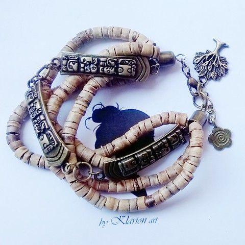 Kókusz  karkötő bronz charmmal, Ékszer, óra, Mindenmás, Karkötő, Medál, Meska