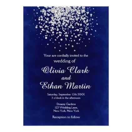 splash of silver on royal blue wedding invitation in 2018 wedding