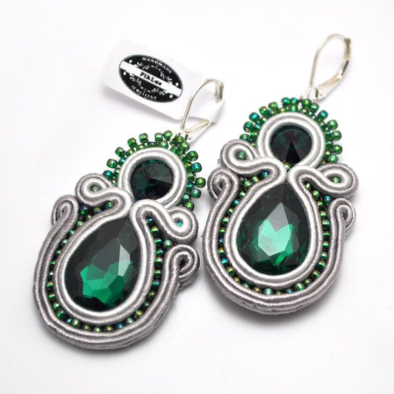 Emerald soutache earrings shiny statement by PikLusSoutache