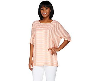 C. Wonder Striped Chiffon Top with Hi-Low Hem
