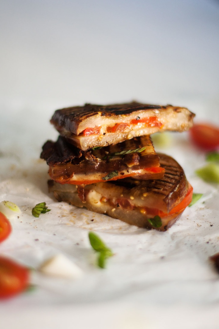 Aubergine Toasties with cheese and tomato. YUM! #carbfree and vegetarian. From Crush Online Magazine