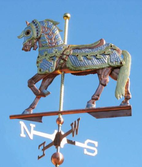 Carousel Horse Weather Vane by West Coast Weather Vanes.  This Carousel horse weathervane can be made as an all copper weathervane or with optional gold or palladium leafing.