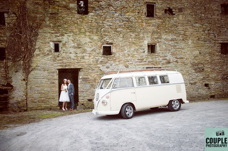 The bride & groom with their VW Wedding Camper Van. Weddings at Kinnitty Castle photographed by Couple Photography.