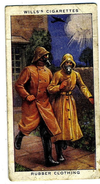 Rubber Clothing ~ Wills's Cigarettes: #38 in a series of 48 Air Raid precaution cards. UK