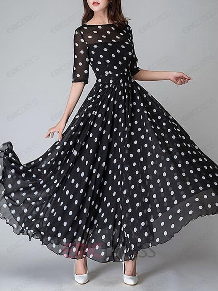 Ericdress Polka Dots Half Sleeve Round Neck Expansion Maxi Dress Maxi Dresses