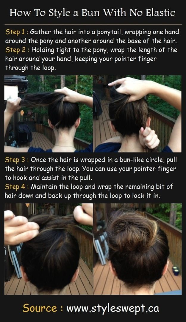 No elastic BUN! #hair #beauty #bun #tutorial #diy #noelastic