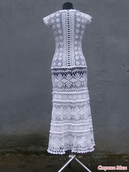 """Комбинированная туника """"Клематисов ажурное плетенье"""" - крючок и ткань"""