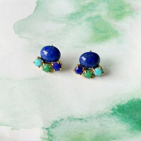 Tri Ear Posts (SD1120) by Sandrine Devost  #clusterearrings #lapisearrings #blueand green #vintageinspiredjewelry #trianglestuds #smallearrings