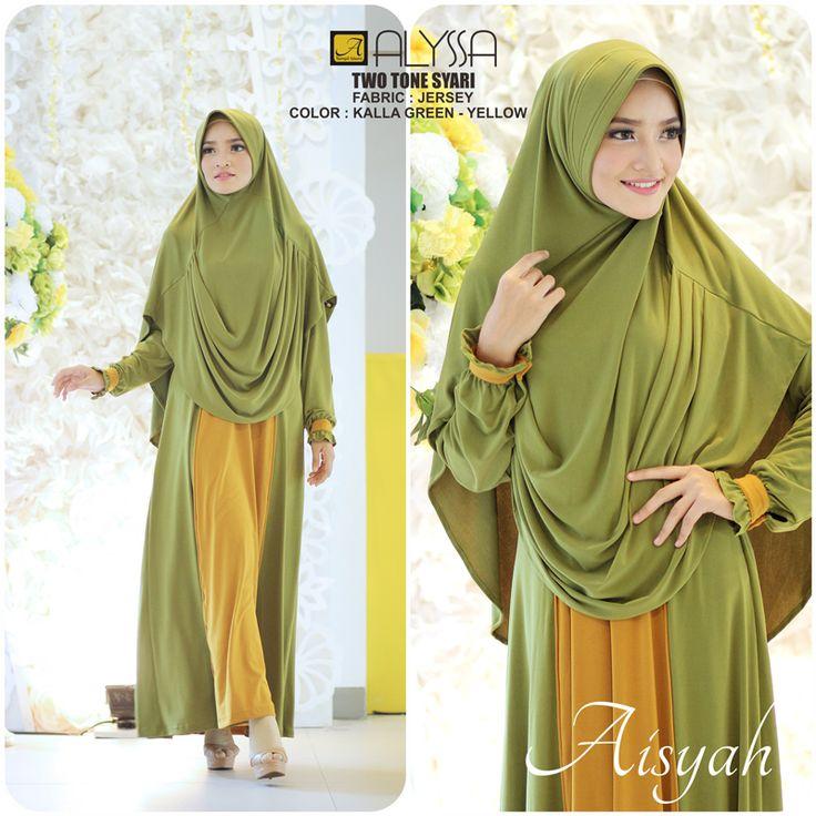 Two Tone Dress With Drapery Hijab