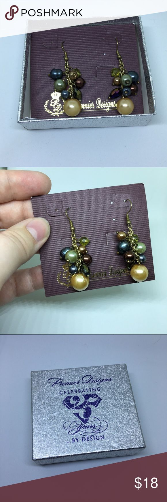 """Leilani Premier Designs Earrings New in box. Leilani Premier Designs Earrings about 2"""" long. Gold Plated hardware with freshwater pearls, aurora borealis, glass, and beads. Colors are blues, creams, and purples. From 2012 catalog.  Pet Friendly Home, Smoke Free Home , No trades. Offers, Bundles, and Questions Encouraged Premier Designs Jewelry Earrings"""