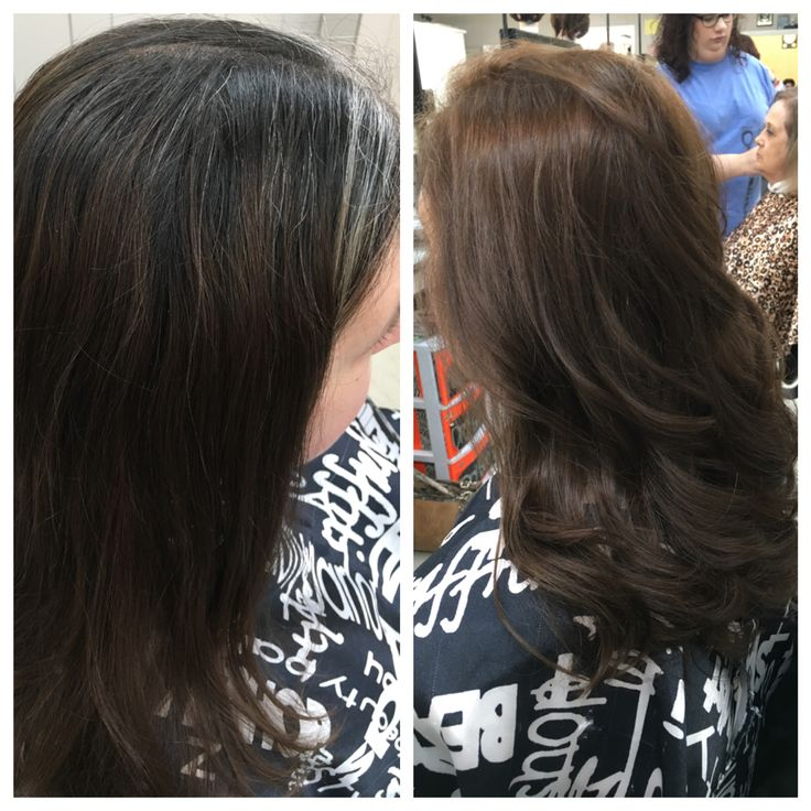 Before and after color and cut by Brooke cannon at booneville academy of cosmetology
