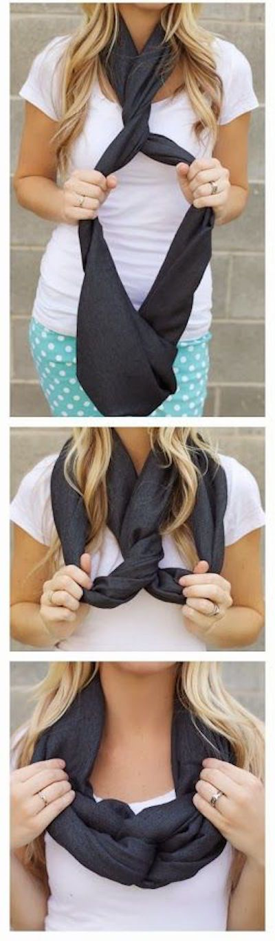 "The Twist - Love this idea for wearing an infinity scarf. Not something super new, but a nice ""twist"" ;)"