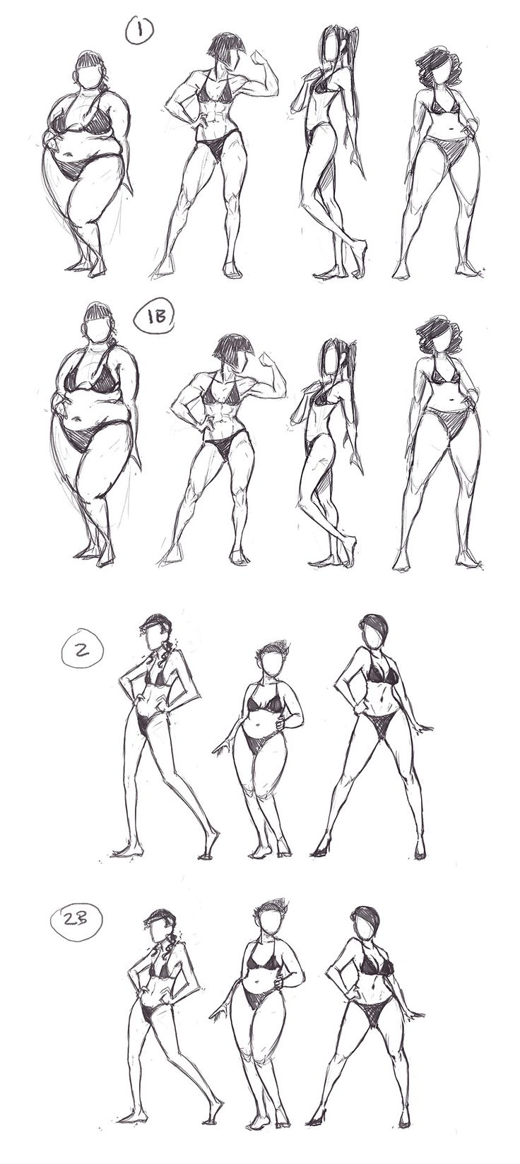 Today's Drawing Class 101: Female Anatomy | Today's practice is devoted to body variation. A plethora of well-written essays exist examining the lack of variety in body types in comics, especially concerning female characters. I have noticed that a great many artists tend to develop a personal ideal body type, and use this for all the women they draw.