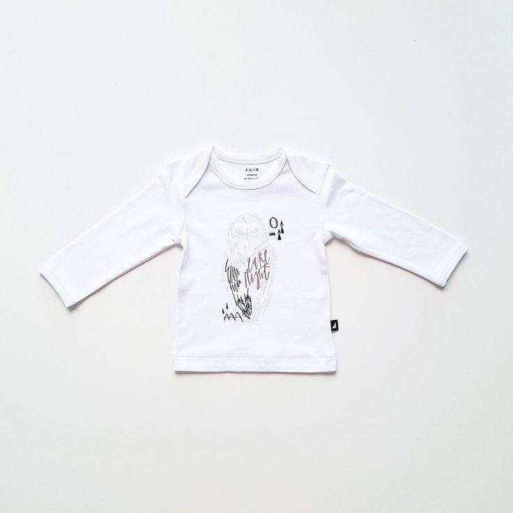 Organic baby clothing - Ethi- White owl tee