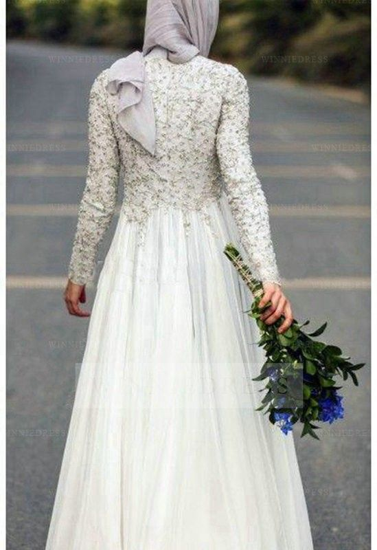 Shop discount Bohemian Long Sleeve Muslim 2016 Beading Sequins Wedding Dress WNWD4125