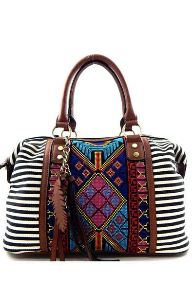 """Black and white stripes, intricate beaded aztec detailing. Dimensions - 14.5""""L x 5.5""""W x 9""""H, 7"""" drop handles Optional adjustable shoulder strap Canvas and faux"""