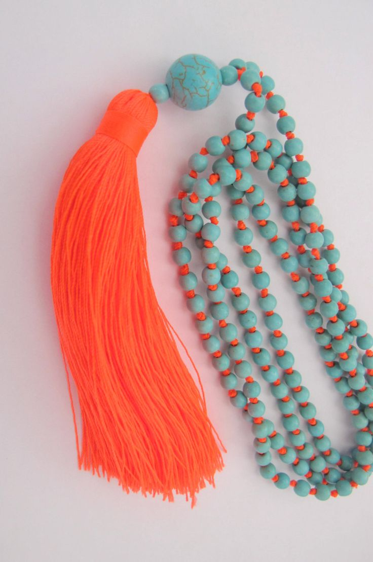 Bright Beaded Tassel Necklace  Aqua Beaded  Neon by ljcdesignss, $19.00