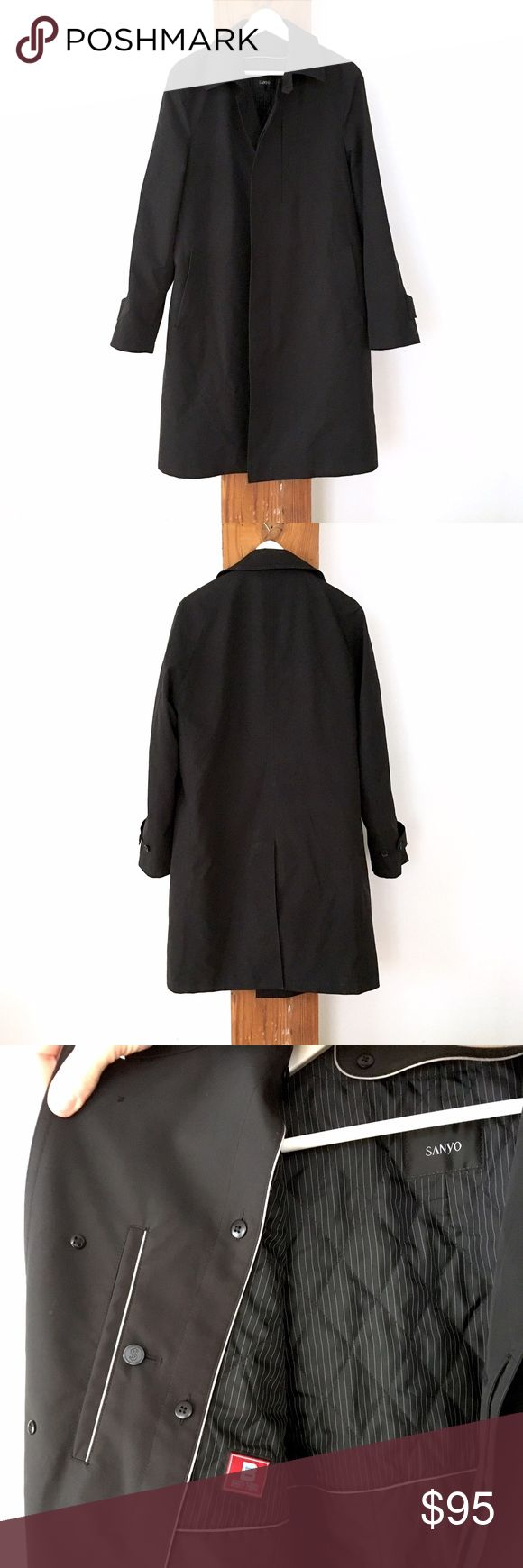 Men's Sanyo black raincoat Men's Sanyo button-up black raincoat with removable inside lining. Lovingly worn, still in great condition! High quality water resistant coat, originally purchased from Macy's. Fits Men's size 40 Regular, though fits a tad more oversized. Nordstrom Jackets & Coats Raincoats